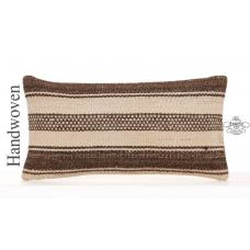 "Striped Natural Kilim Pillow Modern Decoration 10x20"" Lumbar Cushion"