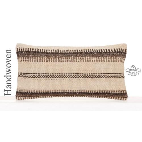 Vintage Kilim Throw Pillow 10x20 Striped White Decorative Lumbar Throw