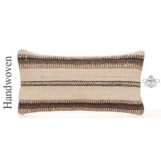 "Vintage Lumbar Kilim Pillow Striped 10x20"" Decorative White Cushion"