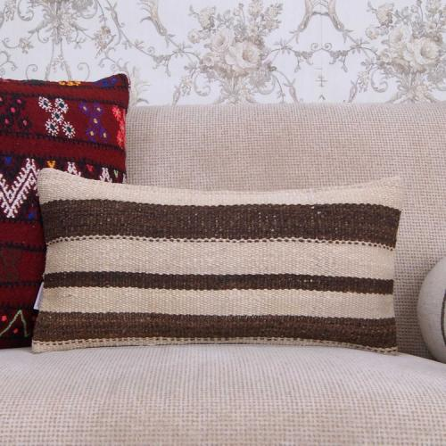 "Cottage Lumbar Pillow Throw 10x20"" Contemporary Kilim Rug Cushion Cove"