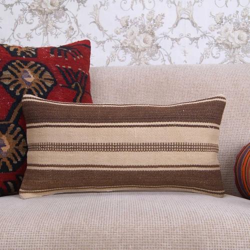 "Ethnic Lumbar Kilim Pillowcase 10x20"" Striped Turkish Rug Throw Pillow"