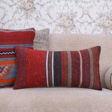 Retro Handmade Lumbar Kilim Pillow 10x20 Striped Decorative Rug Cushion