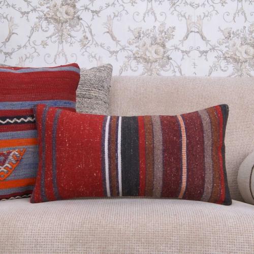 Retro Handmade Lumbar Kilim Pillow 10x20 Striped Decorative Rug Cushion