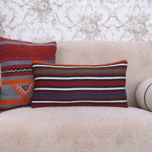 """Striped Lumbar Kilim Pillowcase 10x20"""" Hand Woven Rug Pillow Cover"""