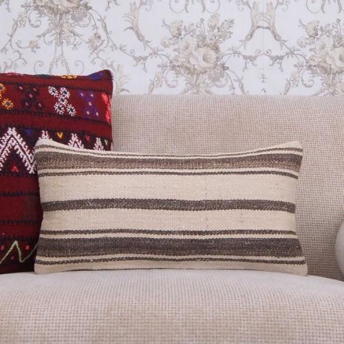 "Turkish Lumbar Rug Pillow 10x20"" Striped Living Room Sofa Decor Throw"