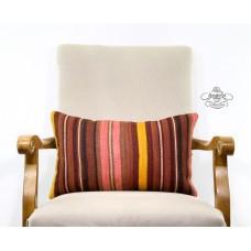 """Earthy Striped Lumbar Pillowcase Bohemian Decor Accent Kilim Rug Pillow 12x20"""""""