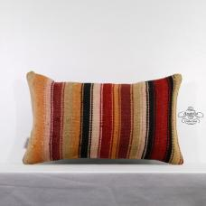 Eclectic Decor Sham Stripe Lumbar Kilim Pillow Turkish Vintage Kelim Rug Cushion