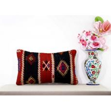 Embroidered Lumbar Kilim Pillow Cottage Chic Eclectic Decor Cushion Cover 12x20""