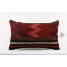 Handcrafted Lumbar Pillow Turkish Kilim Pillowcase Interior Decor Accent Cushion