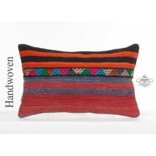 "Anatolian Ethnic Kilim Rug Cushion Cover 12x20"" Handmade Lumbar Kelim Pillowcase"