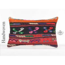 Colorful Gypsy Lumbar Kilim Pillowcase 12x20 Decorative Embroidered Cushion Sham