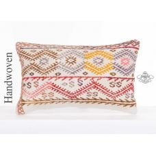 Embroidered Cottage Chic Lumbar Kilim Cushion Cover 12x20 Anatolian Kelim Pillow