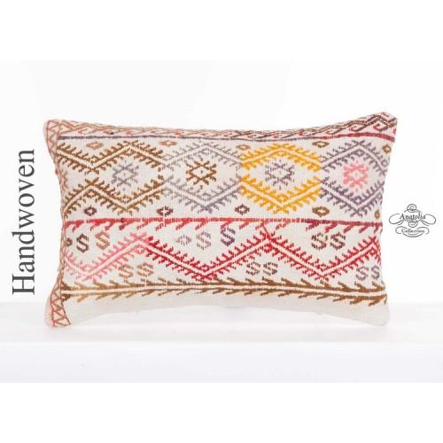 Embroidered Cottage Chic Lumbar Kilim Cushion Cover 12x20 Anatolian Kelim Pillow