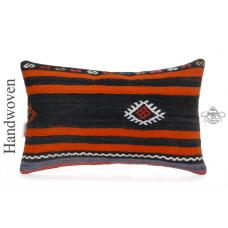"Ethnic Striped Lumbar Kilim Rug Cushion Cover 12x20"" Vintage Kelim Pillow Sham"