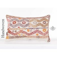 "Modern Embroidered Lumbar Kilim Pillowcase 12x20"" Turkish Tribal Cushion Cover"