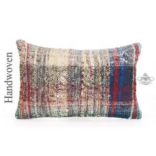 "Colorful Handwoven Kilim Cushion Cover 12x20"" Burlap Decorative Throw Pillow"