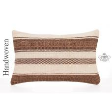 "Home Decor Accent Cushion 12x20"" White Striped Lumbar Kilim Pillow Cover"