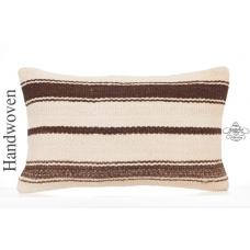 "Striped Cottage Chic Decoration Throw Pillow 12x20"" White Kilim Cushion Cover"