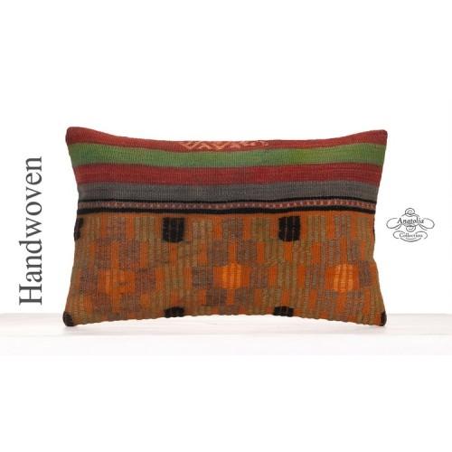 Antique Kilim Pillowcase 12x20 Embroidered Shabby Turkish Kilim Pillow