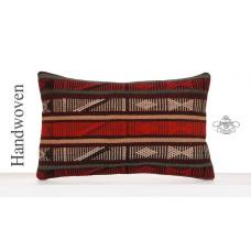 "Aztec Decorative Kilim Pillow 12x20"" Striped Lumbar Turkish Pillowcase"