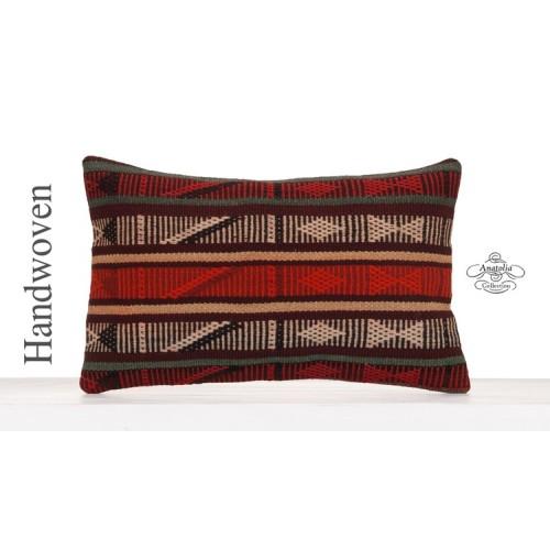 "Aztec Decorative Kilim Pillow 12x20"" Striped Lumbar Turkish Pillowcase"