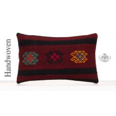 "Black Striped Vintage Kilim Cushion 12x20"" Embroidered Red Pillowcase"