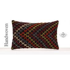 Colorful Lumbar Kilim Pillow 12x20 Embroidered Rectangle Cushion Cover