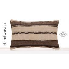 "Ethnic Home Decor Accent Lumbar Pillow 12x20"" Natural Kilim Pillowcase"