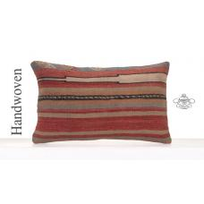 Vintage Anatolian Kilim Throw Pillow Antique Decorative Pillowcase