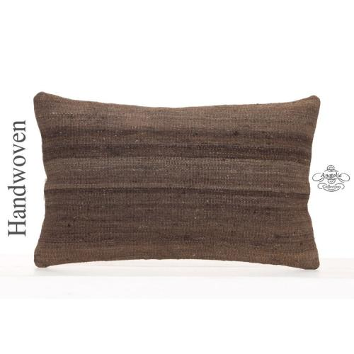 "Solid Hand Woven Decorative Kilim Cushion 12x20"" Vintage Throw Pillow"