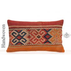 Vintage Anatolian Throw Pillow Case 12x20 Ethnic Turkish Kilim Cushion