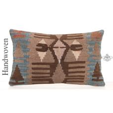 "Anatolian Retro Decorative Throw Pillow 12x20"" Handmade Kilim Cushion"