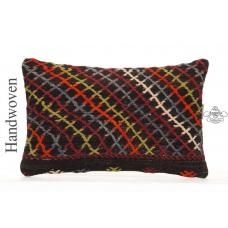 "Boho Cottage Throw Pillow 12x20"" Embroidered Decorative Kilim Cushion"