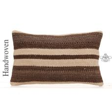 "Decorative Striped Lumbar Throw 12x20"" Ethnic Hand Woven Kilim Pillow"