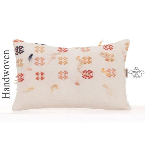 "Retro Shaggy Style Embroidered Kilim Pillow 12x20"" Decorative Cushion"
