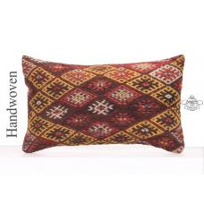 "Antique Kilim Rug Cushion 12x20"" Vintage Colorful Embroidered Pillow"