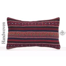 "Aztec Lumbar Pillow Cover 12x20"" Turkish Rustic Decor Kilim Cushion"