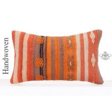 "Ethnic Striped Kilim Pillow 12x20"" Decorative Handembroidered Cushion"