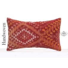 "Nomad Art Red Kilim Rug Pillow 12x20"" Embroidered Lumbar Sofa Throw"