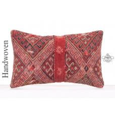 "Old Hand Woven Kilim Throw Pillow Red 12x20"" Oriental Turkish Cushion"