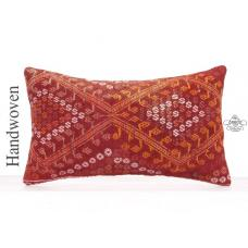 Red Embroidered Lumbar Kilim Pillow Rectangle Turkish Kelim Cushion