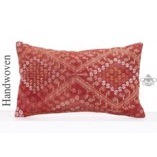 Red Embroidered Lumbar Kilim Throw Pillow 12x20 Interior Decor Cushion