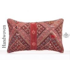"Retro Decorative Kilim Rug Pillow 12x20"" Red Anatolian Lumbar Cushion"