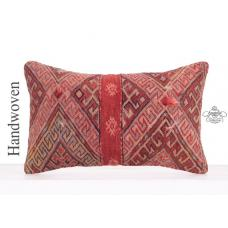 Vintage Decorative Red Lumbar Kilim Pillow Anatolian Kelim Rug Cushion