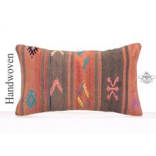 "Vintage Embroidered Kilim Cushion 12x20"" Ethnic Turkish Rug Pillowcase"