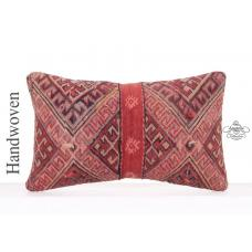 Vintage Red Lumbar Pillow Turkish Hand Woven Kilim Rug Cushion 12x20""