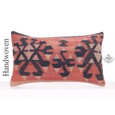 "Vintage Tribal Kilim Throw Pillow 12x20"" Ethnic Turkish Kelim Cushion"