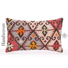 "Anatolian Decorative Lumbar Cushion Cover 12x20"" Oriental Kilim Pillow"