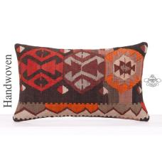 "Asian Decorative Lumbar Throw Pillow 12x20"" Oriental Kilim Rug Cushion"