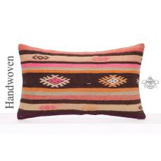 Colorful Retro Kilim Rug Cushion Cover 12x20 Lumbar Turkish Pillowcase